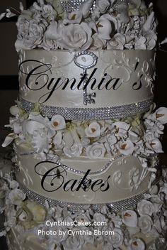 Over the top fabulous wedding cake....the key to my heart! Created by Cynthia's Cakes Edinburg, Tx. www.cynthiascakes.com
