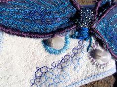 Stumpwork Embroidered Mayfly detail from Elegantia Fashion Collar from Rosebud Casson.  www.rosebudcasson.com