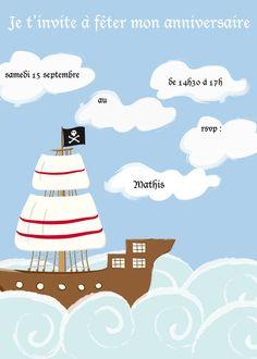 Invitation anniversaire pirates téléchargée sur le site Cottage Industrialist puis traduite en français