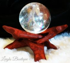 Pure Crystal Quartz Scrying Divination Ball  Stand by leighswiccanboutique