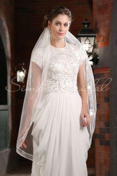 "#87123 - One Tier 45"" Satin Ribbon Edge Veil - Veils - Wedding Accessories - Simply Bridal"