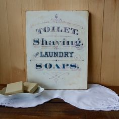 Vintage Typography Farmhouse Laundry or Bathroom Sign, Primitive Country Handmade Reclaimed Wood Sign, Toilet, Shaving and Laundry Soap Sign
