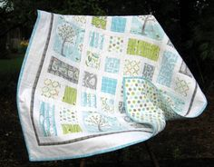 Hey, I found this really awesome Etsy listing at https://www.etsy.com/ca/listing/156291808/backyard-baby-boy-baby-quilt-gray-aqua