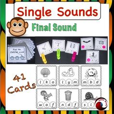 This is a set of reusable activities dealing with final single sounds.There are 7 pages, comprising 41 individual activity cards, plus a cover card.Once printed, cut and laminated I connect them together with a bookring. This gives opportunity for working with individual students who flick through and point out the required sound.