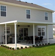 Home Improvement Kits: DIY Patio Covers , Available as Steel and Aluminum Patio Cover Small Covered Patio, Backyard Covered Patios, Screened In Patio, Backyard Sheds, Backyard Patio, Covered Porches, Covered Decks, Patio Grill, Patio Roof