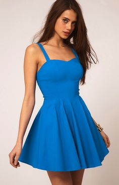 Backless Simple Summery Dress BLUE