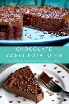 A beautifully creamy, healthy, chocolate sweet potato pie with a soft and chewy brownie crust. It's gluten and grain free, dairy free, nut f. Köstliche Desserts, Gluten Free Desserts, Dairy Free Recipes, Gluten Free Chocolate Pie Recipe, Vegan Recipes, Cooking Recipes, Paleo Dessert, Dessert Recipes, Nut Free