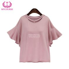 Find More T-Shirts Information about MYCOURSE Casual Slim Ruffles Sleeve Solid Color Women Plus Size T Shirt 2016 Women's TShirts Lovely Short Sleeve Tops tee Female,High Quality size of a soccer ball,China t-shirt dress plus size Suppliers, Cheap size hair from MYCOURSE on Aliexpress.com