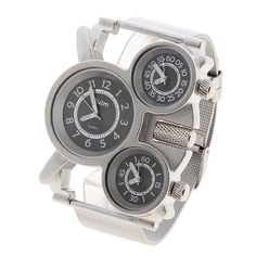 Oulm Ori-0636 トップ ブランド多機能 3 動き鋼のアナログクォーツ腕時計男性用 - シルバー ブラック ダイヤル