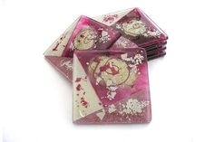 Set of 6 Pink Cream Handmade Glass Coasters – Aphrodite Collection £26.00  A set of six square fused glass coasters from the hot pink and white Aphrodite collection.