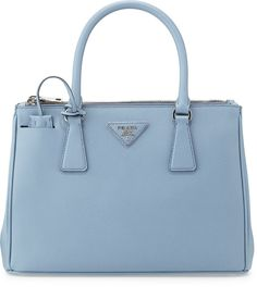 Prada Saffiano Lux Double-Zip Tote Bag, Light Blue (Astrale)