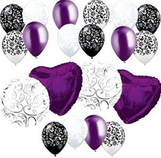 "Custom, Fun & Cool {Big Large 18"" Inch} 20 Pack of Helium & Air Inflatable Mylar/Latex Balloons w/ Damask Hearts Swirl Design [in Dark Purple, White & Black] mySimple Products"