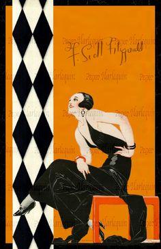 p/gatsby-art-deco-vibrant-jazz-age-room-decor-digital-poster - The world's most private search engine Poster Jazz, Retro Poster, Vintage Posters, Vintage Art, Art Deco Decor, Art Deco Stil, Room Decor, Arte Art Deco, Estilo Art Deco
