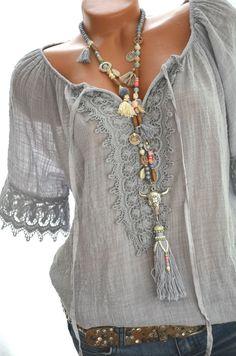 Süße CARMEN Häkel Tunika Häkelspitze HIPPIE IBIZA Bluse BOHO 36 38 40 Grau NEU  | eBay
