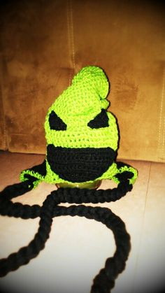 Crocheted Oogie Boogie the boogie man from The Nightmare Before Christmas. $25.00, via Etsy.