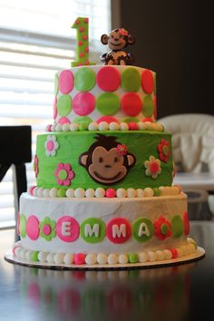 Mod Monkey Birthday Cake Pink Girl