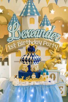 Cake Table from a Royal Prince 1st Birthday Party via Kara's Party Ideas | KarasPartyIdeas.com (7)