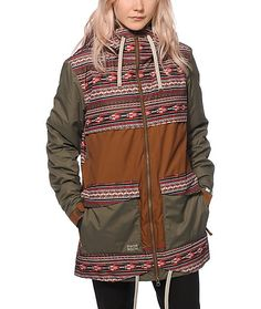This tribal block snowboard jacket that features a breathable waterproof shell to keep you dry and Primaloft eco insulation that traps in heat | PWDR Room
