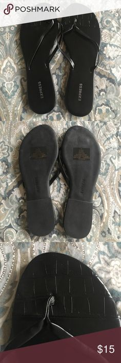 Express Black Patent Sandals/Flip Flops New without Tags. Express Black Patent Print flip flop Sandals. Express Shoes Sandals