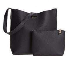 Simple Large Tote Handbag Set PU Leather Crossbody Bag+Clutch wallets