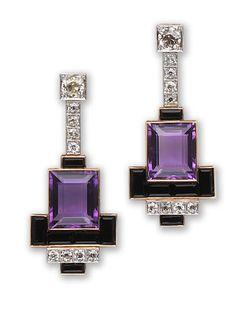 A pair of amethyst, onyx and diamond earrings