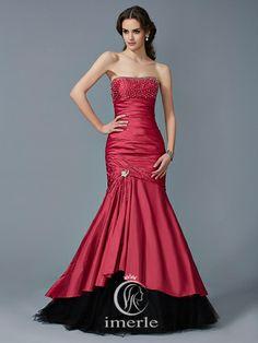Mermaid Strapless Beading Floor-length Dress