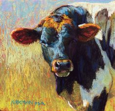 """Rye"" (Pastel, 6x6) click here to bid or buy Day 4 of my 30-paintings-in-30-days of November. I love the coloring on this young bull. ..."