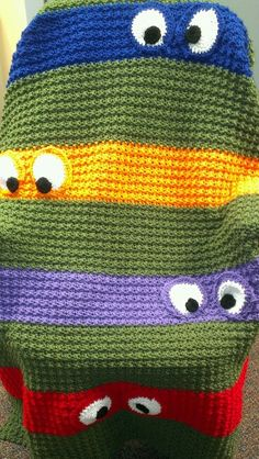 Ninja turtles blanket--I like the idea and might be able to incorporate this into a quilt for a young boy