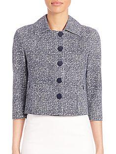 Akris Punto Cropped Tweed Jersey Jacket