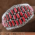 Native American Coral and Silver Cuff Bracelet.