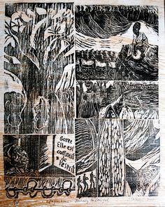 Artist Judith Salmon; title Reflections:journey to Senegal.    Relief print- woodcut, 5 panels, 39.4 x 30.5 cm, unframed| Experience Jamaique