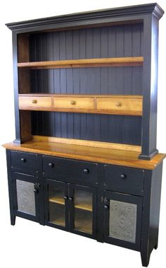 *62w. x 83h. x 15d.  *Very unique design, custom Built of Pine.  *Buffet has lots of storage and the hutch lets you display those special pieces.