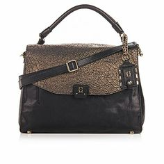OH by Joy Gryson Metallic Leather Top Handle Messenger