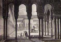 """""""Monumentos árabes. Vista general del patio de los Leones de la Alhambra"""". #grabados #engravings #engraved"""
