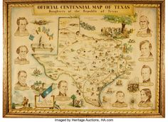 Books:Maps & Atlases, [Featured Lot]. [Maps]. [Republic of Texas]. Guy Cahoon, artist.Framed Official Centennial Map of Texas. Daughters of t...
