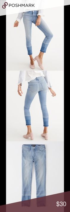 """A&F SUPER SKINNY ANKLE JEANS MEDIUM WASH NEW WITH TAGS!! The classic mid-rise ankle with new fashion details, frayed hems and stretch fabric. A GREAT NEW LOOK!! It's a pair of jeans that will become your most favorite!!Medium wash with extreme let down hem. A great combination. Sells in stores for $88 but on special for $35.20 for short time. Zipper closure. Regular Fit: 26.5""""  89% Cotton, 8% Polyester, 3% Elastane Machine wash cold, with like colors. Abercrombie & Fitch Jeans Ankle…"""