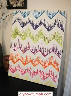 DIY~ Chevron Art Using Crayons, a glue gun and tape! Cooler than the original melted crayon art!