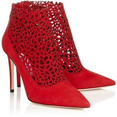 Red Laser Perforated Suede Booties (2.140 RON) ❤ liked on Polyvore featuring shoes, boots, ankle booties, red booties, red ankle booties, perforated suede booties and red boots
