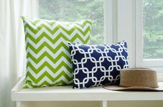 Chevron Pillow Cover Lime Green Zig Zag Throw Pillows Accent Decorative Couch 16x16. $16.00, via Etsy.