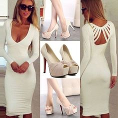 Sexy Backless Dress... Dress>>> http://www.onfancy.co.uk/sexy-backless-v-neck-long-sleeve-solid-color-dress.html Shoe>>> http://www.onfancy.co.uk/elegant-slip-on-peep-toe-platform-stiletto-pumps.html