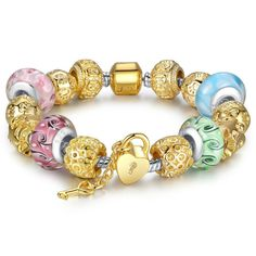 Gold Plated Charm Bracelet with High Quality Multicolor Murano Glass Beads