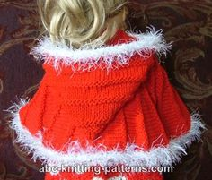 ABC Knitting Patterns - American Girl Doll Cape with Hood.