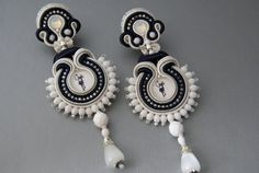 Soutache Ear Clips  Mystic Silhouette by BeadsRainbow on Etsy, $99.00