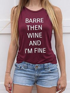 dfbf95983 Life By Lexie Barre Then Wine And I'm Fine Workout Tank Top at Amazon  Women s Clothing store