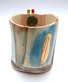 Beaker with small lug detail © Linda Styles Ceramics 2014