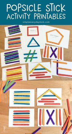 Easy Prep Popsicle Stick Projects For Young Children These popsicle stick projects are ideal for keeping kids busy and will reinforce skills such as color matching, shape identification, patterning & more. Preschool Learning Activities, Toddler Learning, In Kindergarten, Toddler Activities, Preschool Activities, Shape Activities, Educational Activities, Shape Games, Learning Shapes