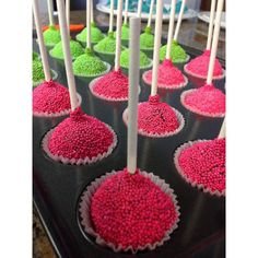Amazing looking cake pops with our white fluted baking cups. The non-pareils look great.  #cakepops #dessert