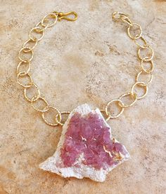 TOURMALINE raw NATURAL color RASPBERRY PINK PENDANT NECKLACE HAMMERED GOLD CHAIN #Pendant