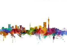 Trademark Fine Art Johannesburg South Africa Skyline Canvas Art by Michael Tompsett, Size: 12 x Multicolor Flower Wall Decals, Nursery Wall Decals, Wall Murals, Wall Art, Wall Canvas, Canvas Art, Canvas Size, Big Canvas, Johannesburg Skyline
