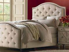 Custom Upholstered Vienna Arched Bed by Bassett Furniture is available as a headboard or a complete bed.